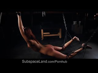 Tall hardcore slave girl restrained for bondage masturbation