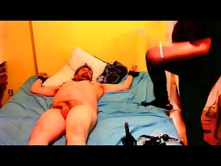 Jason gets bondage buttplug tied up face sitting spanked cock and ball