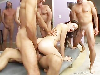 Sasha grey s holes fucked by 12 huge cocks