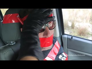 Leather gloves gagging and cum