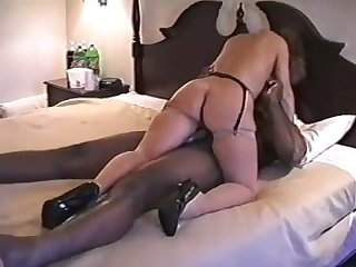Hot wife in heels fucks bbc in front of husband