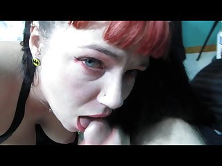 Blowjob amateur wife sucks and gets cum in mouth