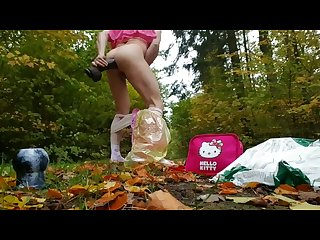 White sissy diaper slave exposed in the woods fucking Big Black Daddy Dick