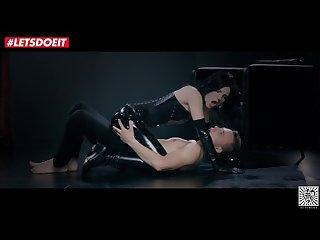Skinny Brunette has passionate sex in LATEX SUIT