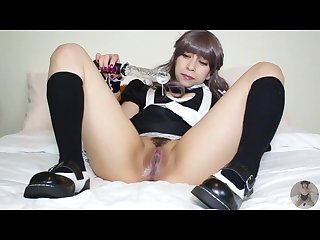 Maid plays with her pussy