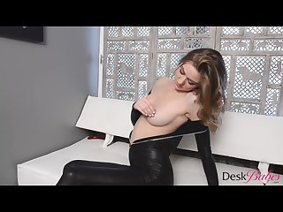 Merry pie latex strip and dildo play