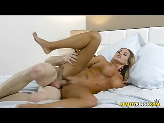 Reality kings banging the hot milf and cumming on her tits