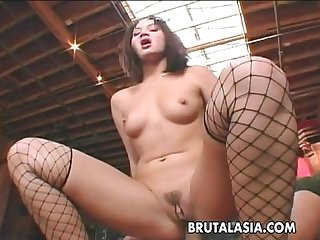 Hot stockings wearing busty ass bitch gets ass fucked