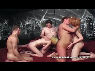 Five mature amateur swingers get together