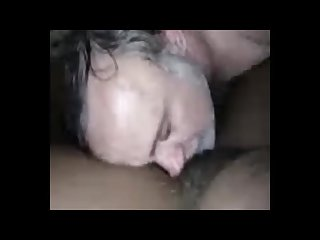 Eating sweet black hairy pussy