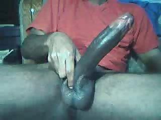 Big black cocked man masterbating