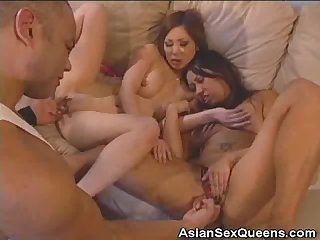 Fingered asian honeys cock sucks