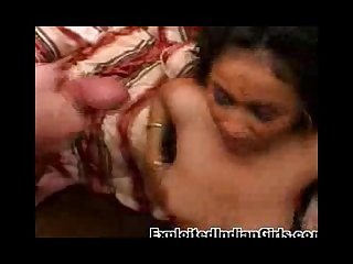 This horny indian babe gets jized on by two hard cocks