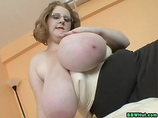 Bbw milf strips to show off her massive natural tits