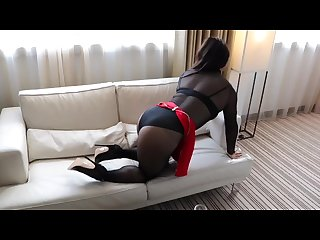 Shemale alina wang teasing in sheer black body string and pantyhose