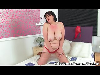 British milf janey gives her hairy muff a dildo treat