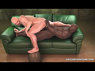 Buff ebony hunk takes white cock and uses his foot on his ass