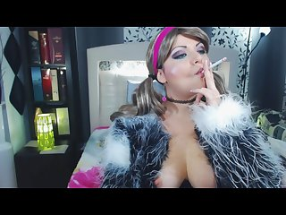 Anabellaxxx1 blonde school girl smoking in fur coat