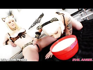 Evilangel milk enemas and sext girls covered in cream