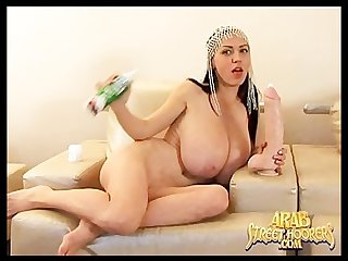 Huge boob paki belly dancer masturbating with big american penis dildo