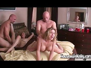 Swinging couple swap foursome
