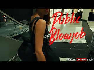 Public blowjob at the Mall Bathroom, Cum in Mouth - Natali Fiction