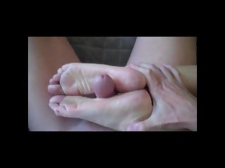 Blonde mom footjob
