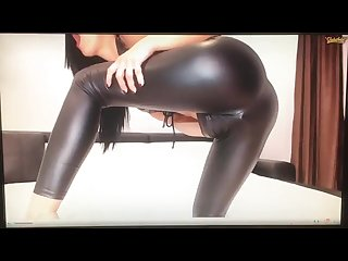 Melissa90sweet shiny wet look leather leggings