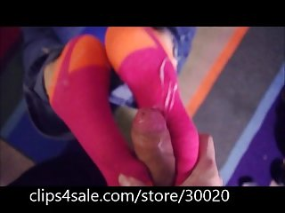 Her first sock job huge cum shot on her socks