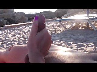 Handjob at the beach