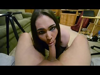 Pov crossdresser sloppy blowjob