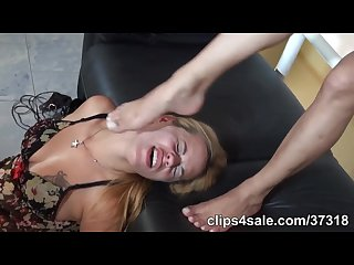 Tied girl slave foot worship
