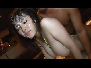 Asian bikini babe gets bukkake gangbanged