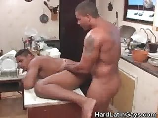 Kitchen ass fucking and cumming latinos