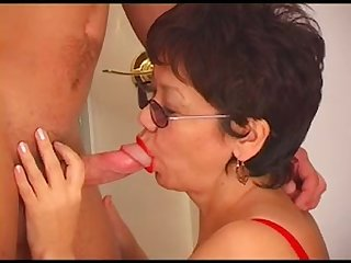 Young boy and asian granny