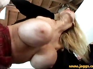Tara moon gets her huge silicon fake tits out sucks and fucks