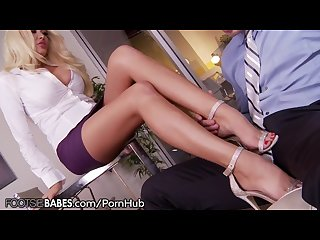 Big Tits Office MILF Uses Feet to Punish Employee