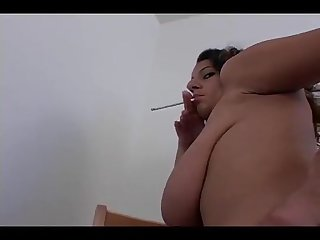 Smoking saggy tits