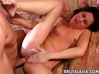Splendid asian babe loves raunchy anal sex