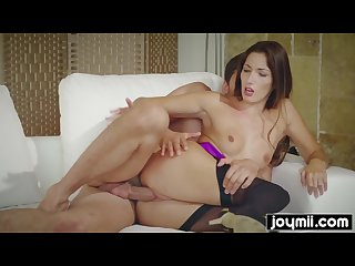 Fit babe clea gautier plays with huge cock