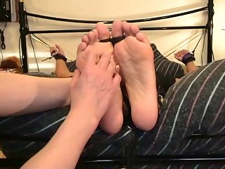 Bed bondage foot Tickling