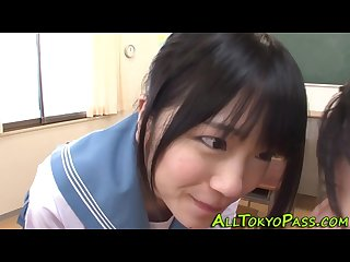 Japanese schoolgirl licks