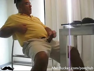 Real mature guy tugging his short fat cock