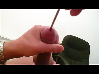 Young male uses urethra in cock and cum