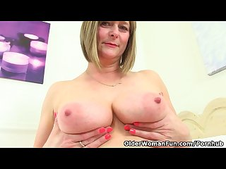 British mom april fingers her tight pussy