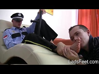 Policeman foot worship