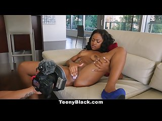 Teenyblack delicious ebony babe fucked in 1st time video
