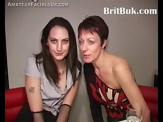 Two british ladies offer their faces for cum Painting at a bukkake party