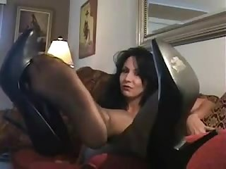 Sexy milf teases you with her nylon soles and shoes