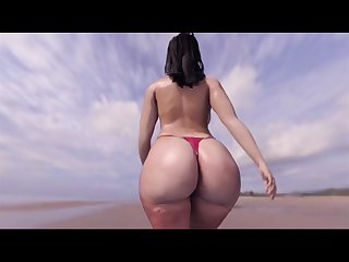 Big booty walking on the beach